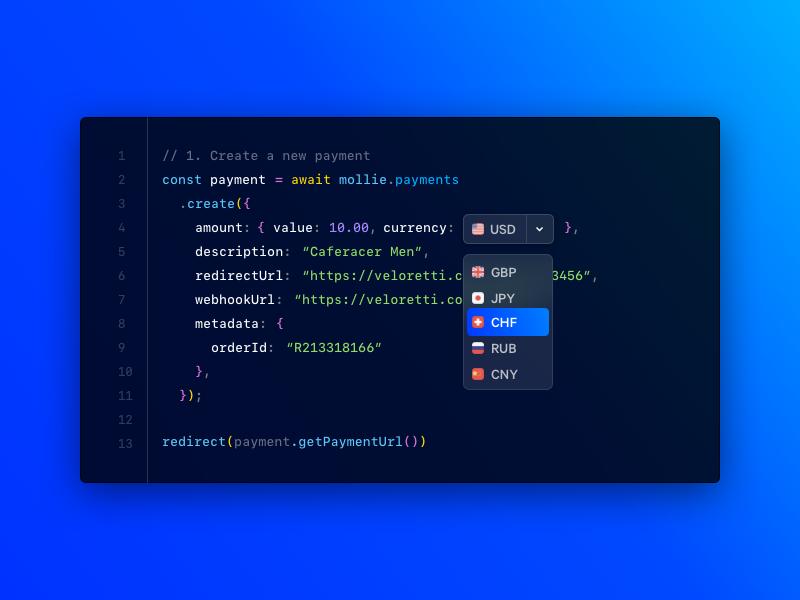 NodeJS - API v2 mollie ui payment multicurrency editor code nodejs