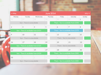 Ottostugan Booking Calendar