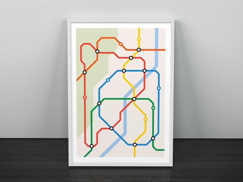 Metro Map poster clean metro map mockup illustrator print concept design flat illustration vector