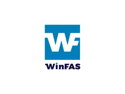Winfas logotype mark wf w branding brand logo blue