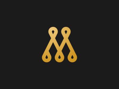 Mehoo mono line golden gold m mark icon logo type logo design logo branding brand