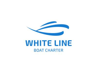 White Line ocean sea transportation charter ship white blue waves logo type boat logo design logo brand