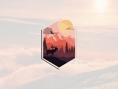 Evening Mountains evening mountains flat 2d iconic concept minimalist vector illustration design art