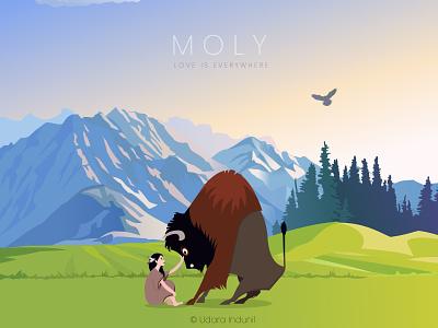 MOLY - Love is Everywhere couple love cartoon flat concept minimalist vector illustration design art
