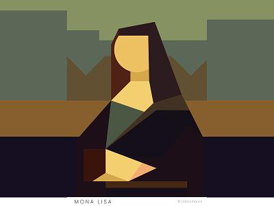 M O N A L I S A  - Minimalist Style world famous art mona lisa leanardo da vinci monalisa flat minimalist concept vector design art illustration