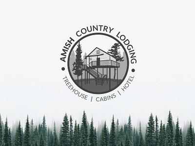 Brand Design - Amish Country Lodging vintage design brand name creation logo treehouse branding iconic flat minimalist vector design art