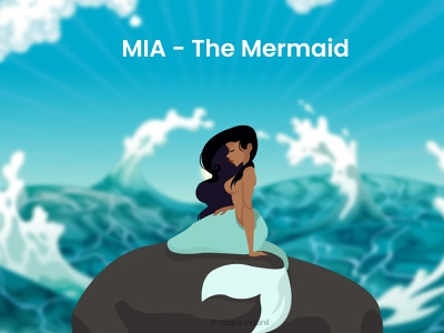 MIA - The Mermaid sea udara indunil little mermaid mia mermaid cartoon 2d flat concept minimalist vector illustration design art