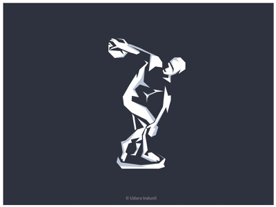 Myron s discus thrower - Minimalist statue greek gods iconic 2d concept flat minimalist vector illustration design art
