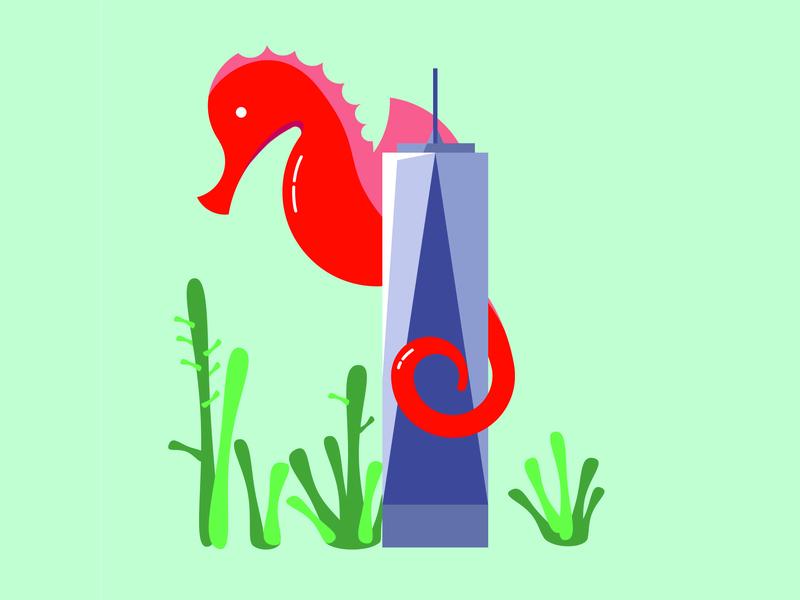 Seahorse vector illustration branding