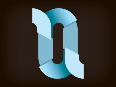 r+a r a letters paper fold logo blue shadow