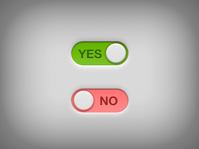 Yes - No Switch PSD Freebie freebie yes no switch shade volume flat green red