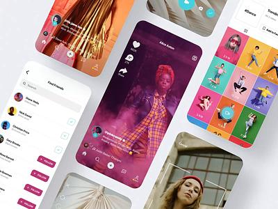 Social Video Mobile App mobile app design tiktok instagram chat animatiin uxui ux music video social mobile app