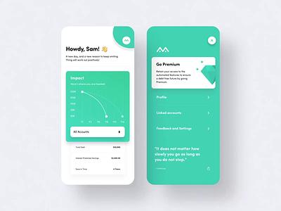 Financial, Debt and Load Management Mobil App award winning award ux mobile app clean ui minimal debt loan app financial app fintech app