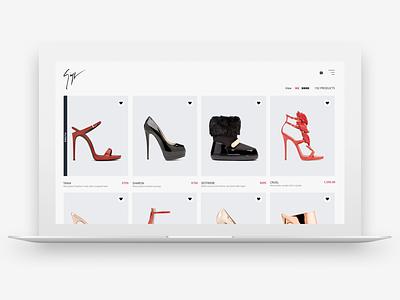 Giuseppe Zanotti - Product List web design ux ui shoes product page luxurious laxury giuseppe zanotti fashion eccomerce brand