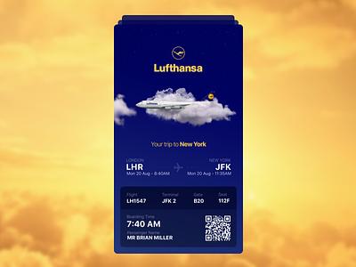 Lufthansa - Boarding Pass (Teaser Screen) best invitation invite airlines boarding pass ios tickets travel ui ux lufthansa app
