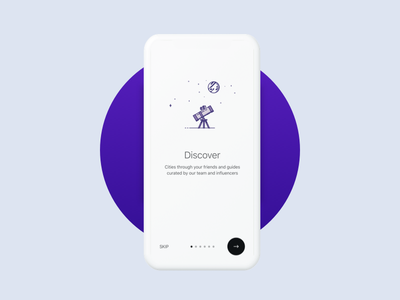 On-boarding flow - APP minimal clean social travel walkthrough android ios onboarding