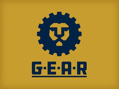 gear logo design minimal gold blue gear lion design vector logo
