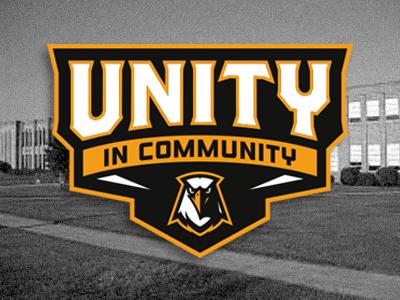unity in community branding athletics sports type bird eagle logo