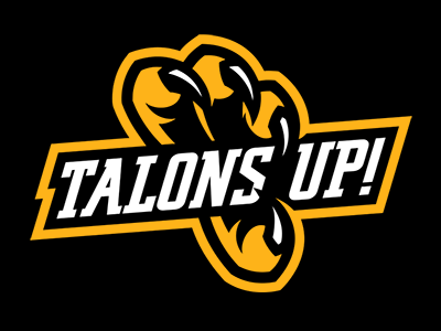 talons up! apparel branding athletics sports gold black talon claw eagle vector logo