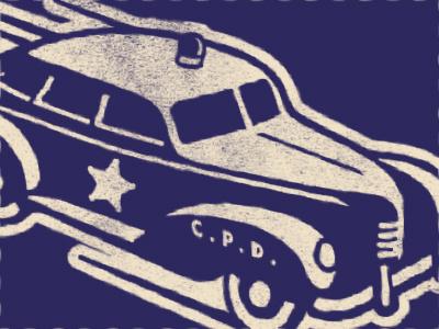 police car star hot rod police car illustration texture vintage retro