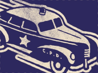 police car star hot rod police car illustration texture vintage retro