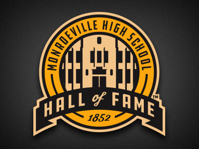 mhs hall of fame retro banner roundel vector logo