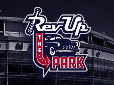 rev up the park vintage retro vector logo hot rod cars baseball
