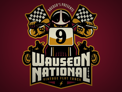 wauseon national t-shirt poster apparel checkered flag vintage retro vector logo flat track motorcycle