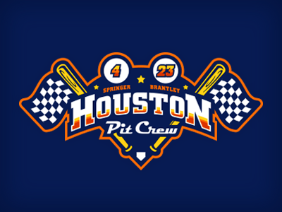 houston pit crew illustration logo retro plate checkered flag bat car racing houston baseball