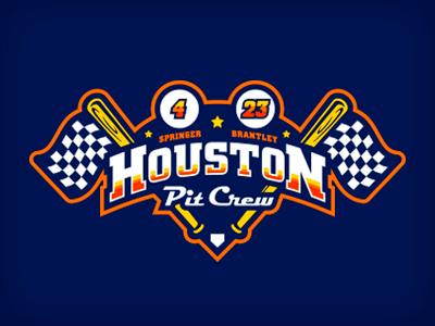houston pit crew illustration logo retro plate checkered flag bat car racing houston baseball