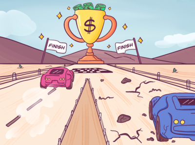 How to improve the cost-efficiency of your business - FC blog car race cars cost money mobile cute art photoshop minimal illustration design vector dribbble
