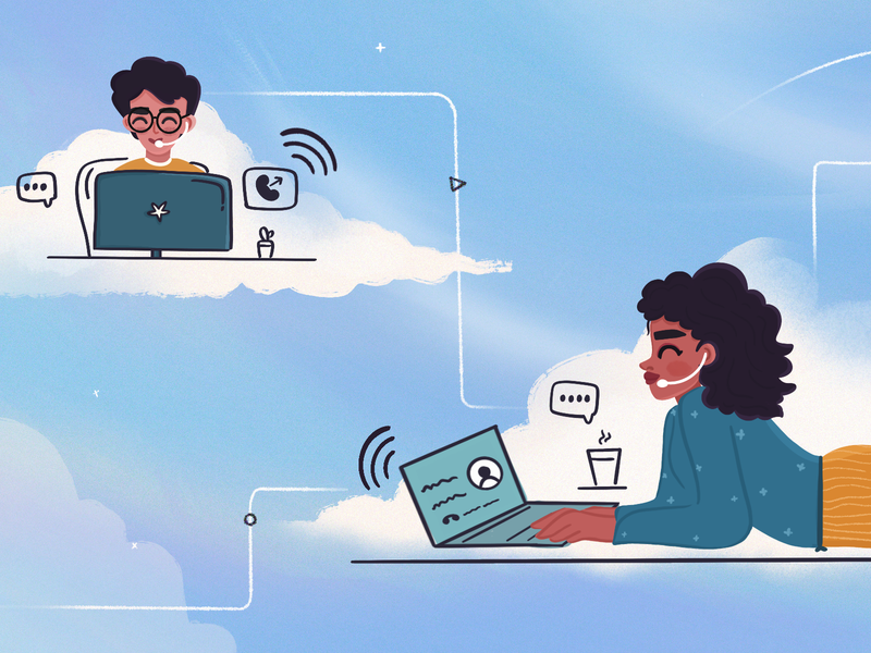 Why virtual call centers are deemed to be the future - FC Blog headphones call center laptop desktop workdesk workplace characterdesign cloud virtual work from home wfh mobile cute art photoshop minimal illustration design vector dribbble