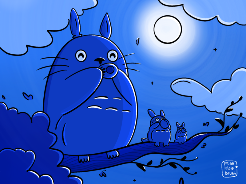 My neighbour Totoro moonshine moonlight whistle gradient shadows my neighbour totoro minimal design cute art illustration dribbble night doodles charcater design graphic design miyazaki ghibli movies ghibli totoro