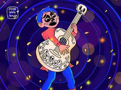 Coco - Miguel disney musician animation boy illustration boy character player skeleton blue dribbbleweeklywarmup dribbble best shot dribbble invite artist guitar music art illustration design vector dribbble