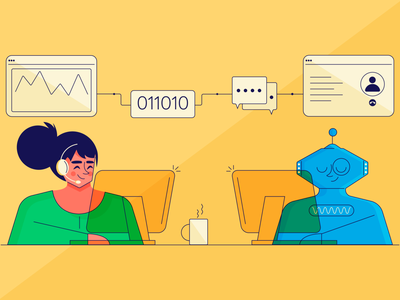 How Can Ai Unlock Value For Call Centers - Freshcaller Blog minimal working workdesk call center call analytics data agent workplace bot chat bot robot illustration design vector dribbble
