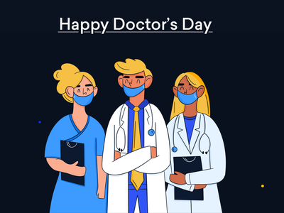 Happy Doctor's day doodle doodleart character characters characterdesign colors concept cute art pandemic covid 19 covid doctors doctor photoshop minimal illustration design vector dribbble