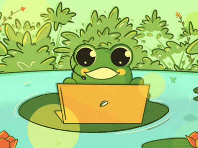 Remote work - Freshcaller blog cover best shot pandemic employee team virtual remote remote work lotus pond photoshop cute frogs frog minimal art illustration design vector dribbble