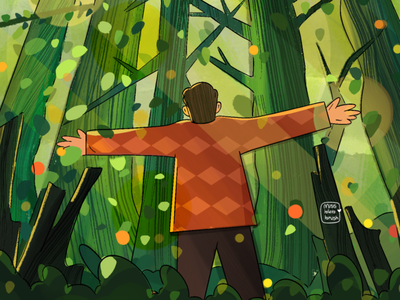 I love looking at the sky through trees sky boy character plants illustration plants forests sunshine forestry landscape nature cute photoshop minimal art illustration design vector forest animals forest dribbble