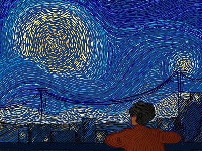 Starry Night over the Chennai 🌃 ✨ dream sunflower artist moon night dribbble best shot painting van gogh starry night vincent art illustration design vector dribbble