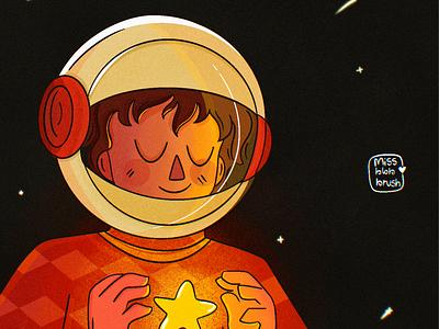 Wonder movie - Auggie Pullman galaxy space procreate astronauts cute doodle character design movie branding ui logo photoshop minimal art illustration design vector dribbble