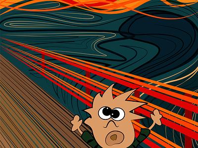 Calvin Scream edvard munch scream comic dribbble hobbes calvin