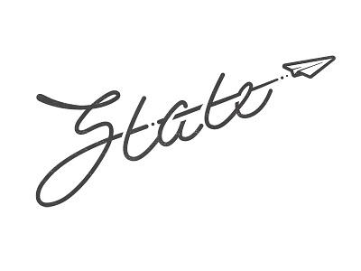 State Wordmark script font logo plane