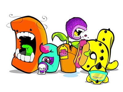 The Krew of letter monsters monsters illustration