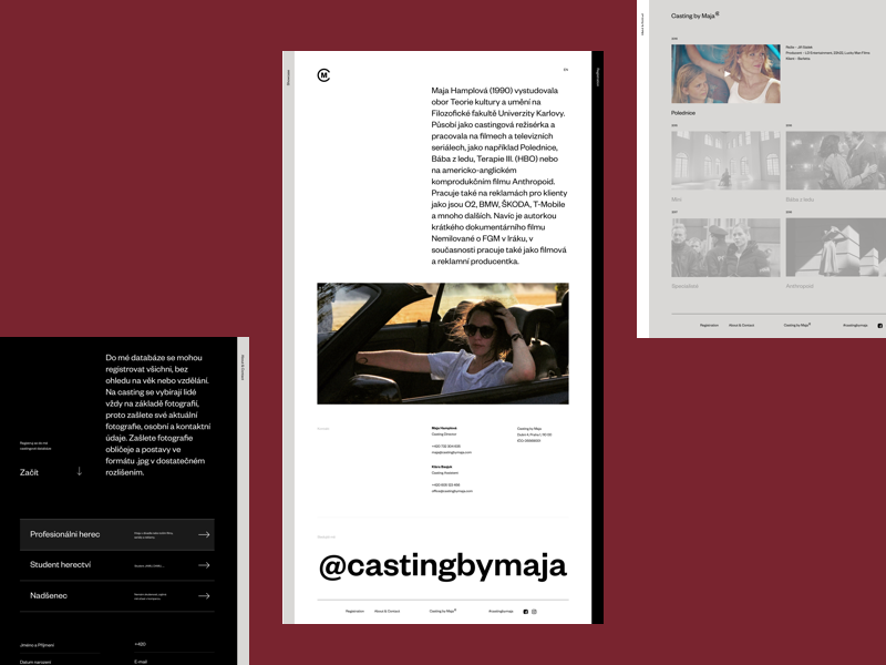 Casting By Maja – Portfolio website editorial minimal simple ux typography website design visual ui uiux portfolio