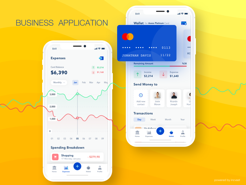 Business Application linegraph incvast combination blue yellow iphonex tab bar banking ui business banking card screen card selection graph ui branding vector illustration daily ui application business
