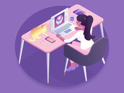 Isometric Office gravit designer office woman purple isometric illustration