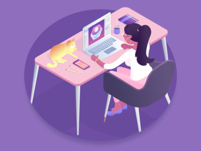 Isometric Office gravit designer office woman purple isometric illustration