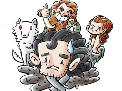 Knows nothing apple pencil procreate design direwolf wolf cute tormund ygritte jon snow game of thrones illustration cartoon
