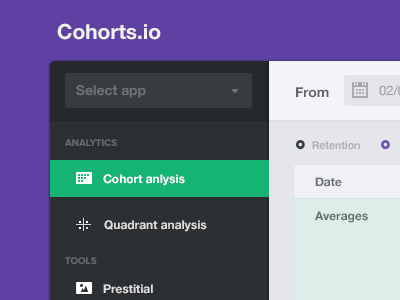 Cohort  ui clean cohort dashboard statistc analytics quadrant analysis date picker tables averages retentions web app ux flat prestitial icons sidebar drop down