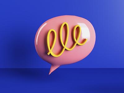 Chat bubble render practice scribble design 3d bubble chat